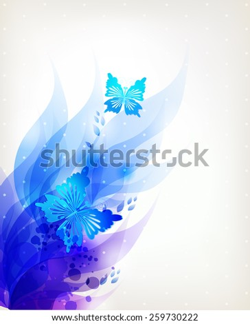 Fantasy Watercolor vector background with colorful flower and butterflies. Abstract floral elements .  - stock vector