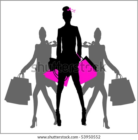 Fashion and Shopping girls - stock vector