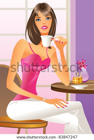 Fashion girl drinking a coffee - vector illustration - stock vector