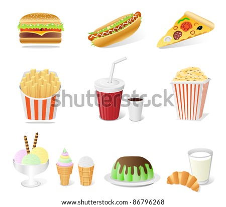 fast food set isolated on the white background