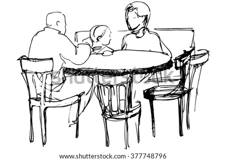 father and mother with daughter at a table in a cafe