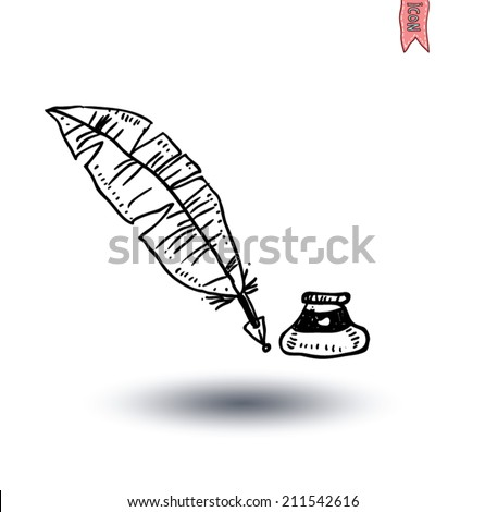Feather pen and inkwell, Hand-drawn vector illustration. - stock vector