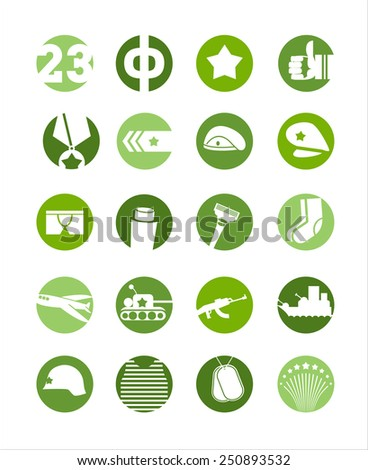 23 February, icon set, defenders day in Russia - stock vector