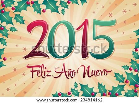 2015 Feliz Ano Nuevo - Happy new year spanish text vector - stock vector