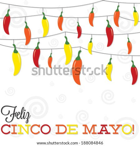 'Feliz Cinco de Mayo' (Happy 5th of May) strings of peppers in vector format. - stock vector