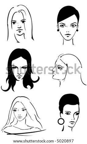 6 female faces (all background transparent)
