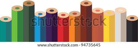fence of pencils - stock vector