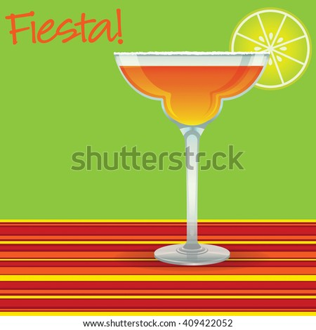 """Fiesta!"" Margarita card in vector format. - stock vector"