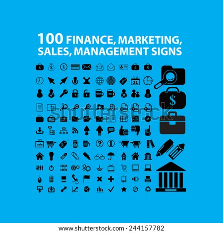 100 finance, marketing, sales, management black icons, signs, illustrations on background, vector set - stock vector