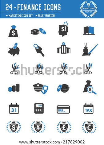 24 Financial icons on white background,blue version,clean vector - stock vector