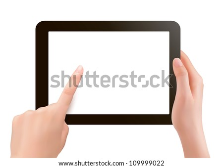 Finger touching digital tablet screen. Vector. - stock vector