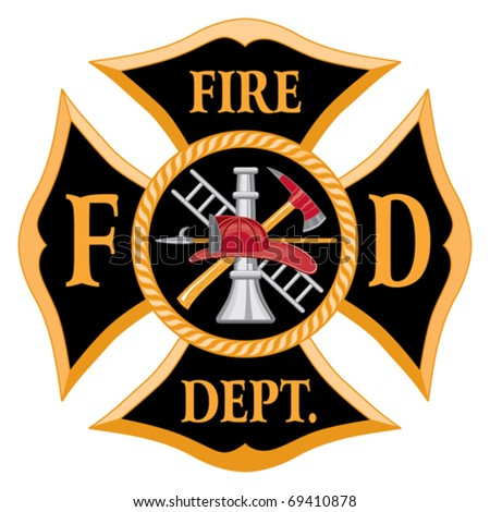 Fire Department or Firefighters  Maltese Cross Symbol is six color art that can be easily edited or separated for print or screen print. Each major element is on a separate layer. - stock vector