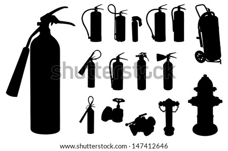 12 Fire extinguisher, hydrants and other accessories silhouette. - stock vector