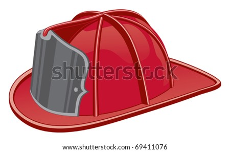 Firefighter Helmet or Fireman Hat is a three color illustration that can be easily edited or separated for print or screen print. - stock vector