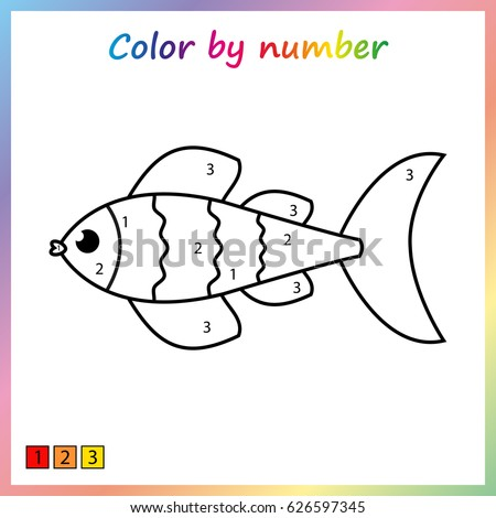 fish painting page color by numbers worksheet for education game for preschool - Painting Sheets For Kids