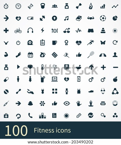 100 fitness icons set - stock vector