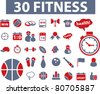 30 fitness icons, signs, vector illustrations - stock vector