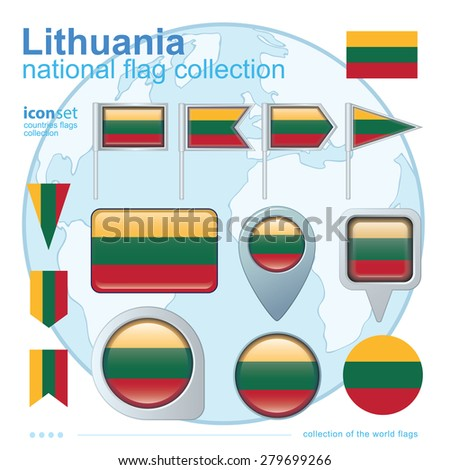 Flag of Lithuania, icon collection, vector illustration - stock vector