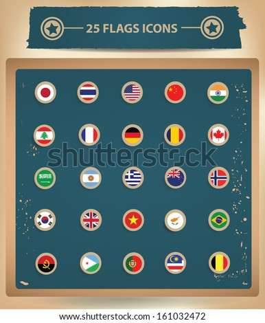 25 Flags National icons,vector - stock vector