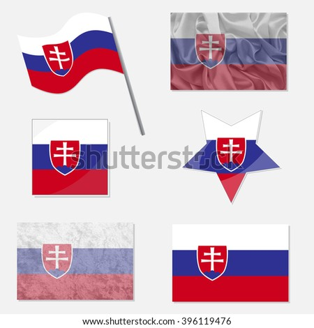 Flags of Slovakia Made in Different Variations: in Flat Design, with  Fabric Texture and as Web Buttons