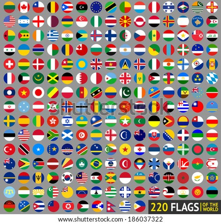 220 Flags of the world, circular buttons - stock vector