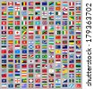 216 Flags of world, flat vector illustration, set - stock photo