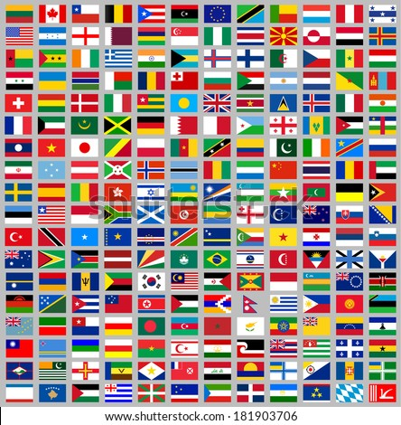 216 Flags of world, flat vector illustration, set (march 2014) - stock vector