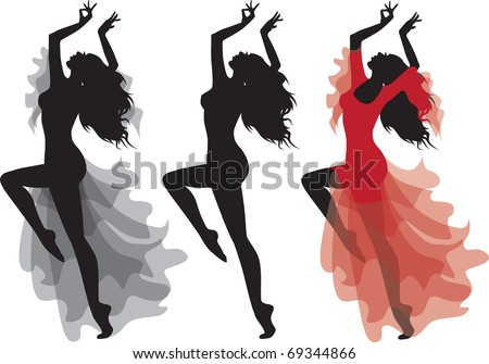 Flamenco gypsy dance silhouette in clothes and naked. No transparency. Vector illustration, isolated on white background. - stock vector