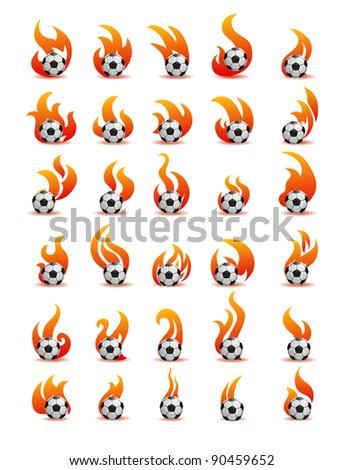 flaming football ball (soccer) - stock vector
