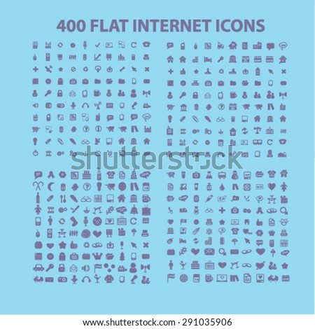 400 flat, business, media, travel, recreation, construction, technology, communication isolated icons, signs, illustrations on white background for website, internet, mobile application, vector - stock vector