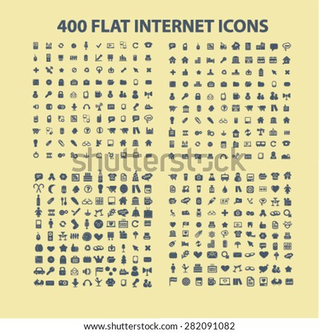 400 flat business, office, media, music, application icons, signs, illustrations set, vector - stock vector