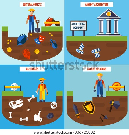 Flat color  archeology design concept set   with people archaeological finds and tools for excavations vector illustration - stock vector
