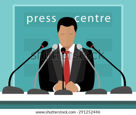 Flat design concept of press conference with a speaker. Vector illustration of faceless man with microphones speaking to press.  - stock vector
