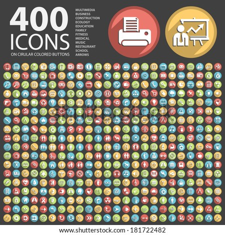 400 Flat Icon on Circular Colored Buttons. - stock vector