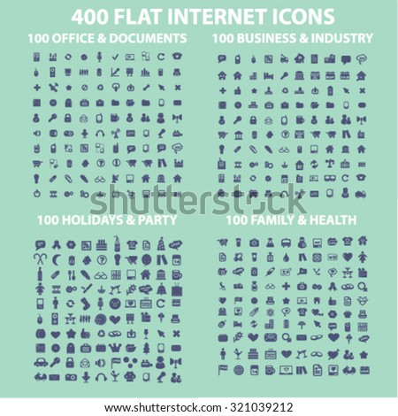 400 flat internet icons, business, media, website, travel, family, holidays - stock vector