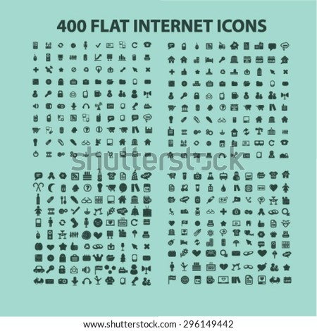 400 flat internet, website, web icons, signs, illustrations set, vector - stock vector