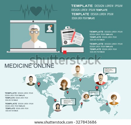 Flat medical background. First aid. Online medicine. Health care and protection, Pharmacy. Vector illustration. - stock vector