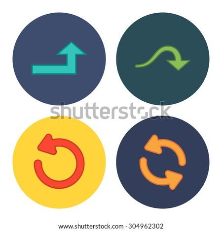 4 flat modern arrows - stock vector