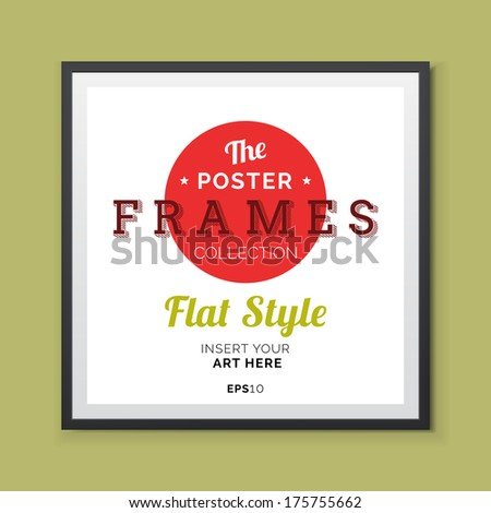 Flat styleVector Poster Frame with transparent shadows  - stock vector