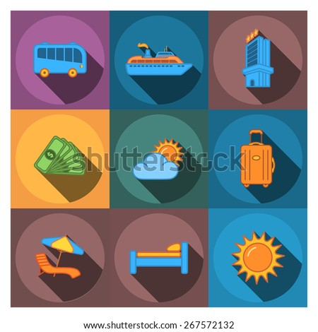 9 flat travel company icons - stock vector