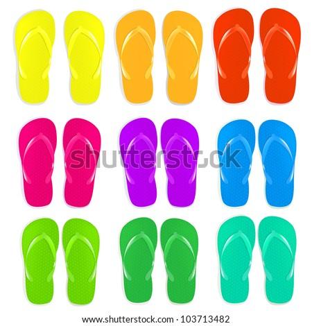 9 Flip Flops Set, Isolated On White Background, Vector Illustration - stock vector