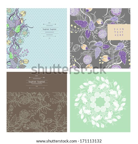 Floral decorations with flowers and leaves-set of four designs - stock vector