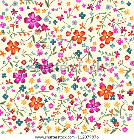 floral ditsy background - stock vector