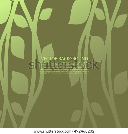 Floral  green design element vector. Tree branch with leaves. silhouette