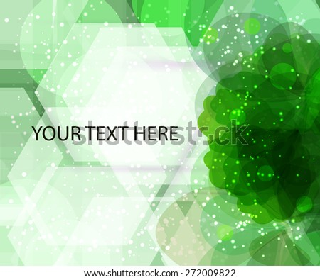 flower background with many cool effect with green petals for your text. Eco presentation for you text - stock vector