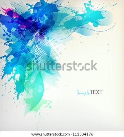 flower in  colorful ink splattered background. Vector design - stock vector