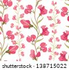 flower seamless background. floral seamless pattern with lilac and pink sweet pea. - stock vector