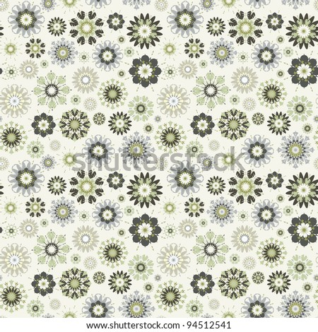 flower seamless vector pattern.  The .eps includes seamless swatch,  so you can make easy seamless pattern. - stock vector