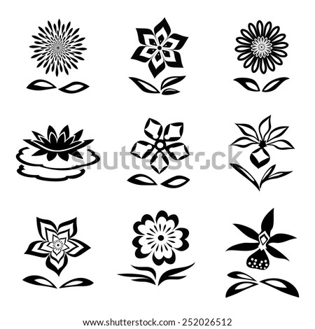 9 Flower set. Chamomile, orchid, water-lily. Black silhouettes on white background.  Isolated symbols of flowers and leaves. Vector - stock vector
