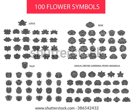 100 flower thin line flat modern icons. Hand drawn silhouette vector set, rose, lotus, tulip, dahlia, peony, gardenia collection isolated on white background, logo, sign, symbol outline collection.  - stock vector